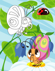 Hand drawn cute butterfly baby cartoon style inspired. Coloring book for kids and adults.