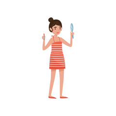 Brunette girl applying lipstic, beauty treatment, young woman taking care of herself vector Illustration on a white background