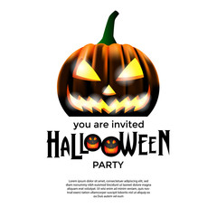 halloween party with dark jack lantern pumpkin. trick or treat event. poster and banner invitation template. vector illustration