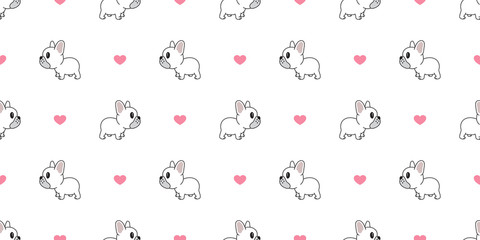 Dog seamless pattern french bulldog vector heart valentine repeat background isolated wallpaper