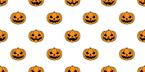 pumpkin seamless pattern vector Halloween ghost scarf isolated repeat wallpaper tile background