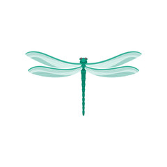 Flat vector icon of small dragonfly with long turquoise body two pairs of large transparent wings. Fast-flying insect