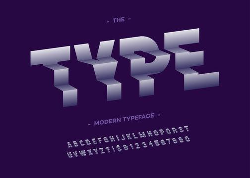 Vector type font 3d typography sans serif style