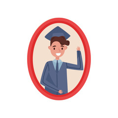 Portrait of happy boy in graduation cap and gown, family photo in wooden frame vector Illustration on a white background