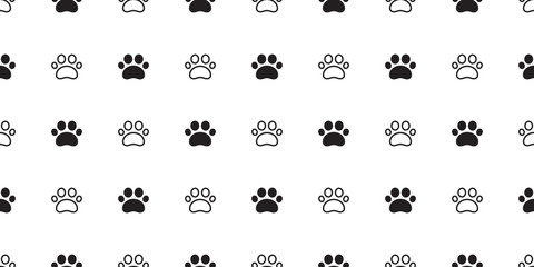 Dog Paw seamless pattern vector footprint cat puppy tile background repeat wallpaper scarf isolated cartoon illustration