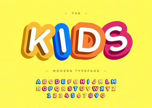 Vector kids typeface 3d bold typography sans serif style for poster, decoration, promotion, book, t shirt, sale banner, printing on fabric. Cool modern alphabet. Trendy font. 10 eps
