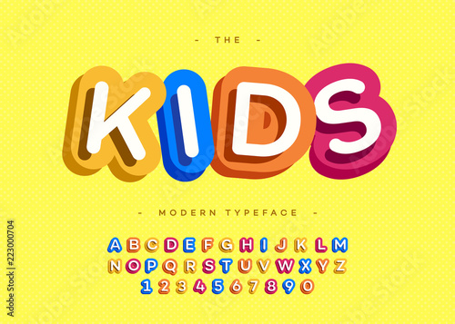 Vector kids typeface 3d bold typography sans serif style for