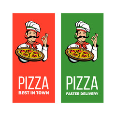 Italian chef holding a delicious pizza. Vector emblem.