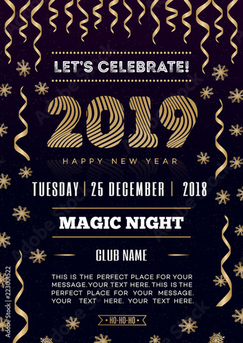 2019 christmas party poster with happy new year sign snowflake and