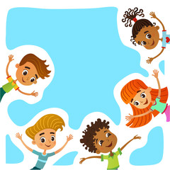 Happy and funny children stand around a large banner, poster, po