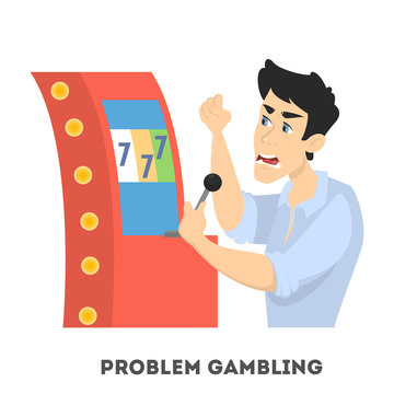 Gambling addiction. Angry man playing in casino