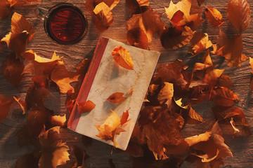 Obenansicht Buch mit Herbstlaub bedeckt auf Holztisch neben einem Glas Tee. 3D Rendering