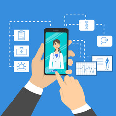 Online doctor concept. Consultation with professional in the internet