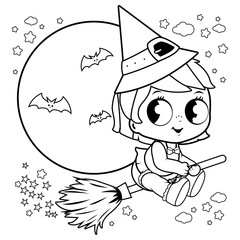 Baby Halloween witch flying with broom in the night sky. Black and white coloring book page
