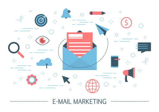 E-mail marketing concept. Advertising and business promotion
