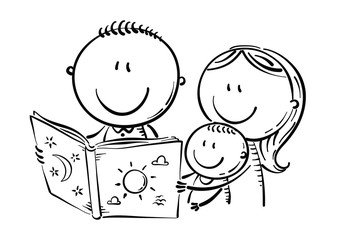 Wall Mural - Happy family reading a book together, black and white