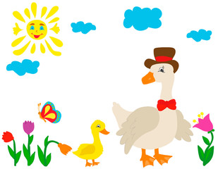 vector, isolated goose character on nature