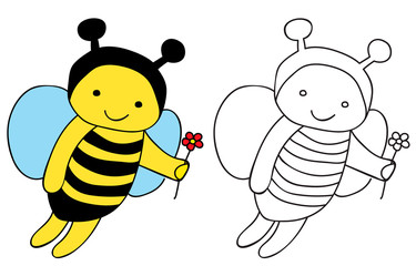 vector, bee character, book coloring