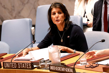 U.S. Ambassador to the United Nations Nikki Haley speaks during a United Nations Security Council meeting about implementation of sanctions against North Korea at U.N. headquarters in New York