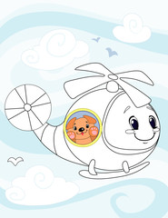 Helicopter to be colored, the coloring book for preschool kids with easy educational gaming level.