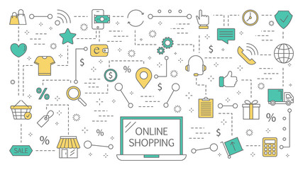 Online shopping. Buying goods and making payments