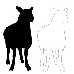 silhouette of a lamb on a white background