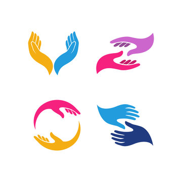 hand care logo design template. hand care vector icon illustration