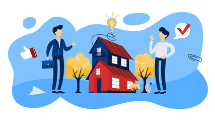 Real estate agent concept. House sale offering.