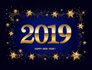 Happy new year design layout on dark blue background with 2019 and gold stas. Vector illustration