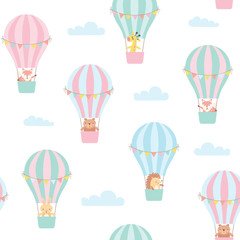 Seamless pattern with cute animals in a hot air balloon. Vector illustration