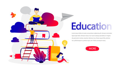 Education horizontal banner for your website illustration