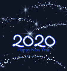 Merry Christmas card, 2020 Happy New Year background. String Lights. Cheerful party and celebration