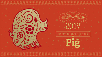 Vector illustration. 2019 Happy New Year design template, Asian Lunar Year. Hieroglyphs means congratulations on getting rich