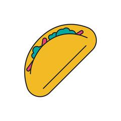 Taco icon, cartoon style