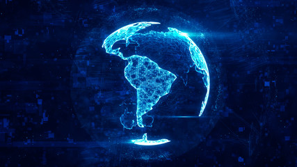 Digital globe made of plexus bright glowing lines. Detailed virtual planet earth. Technology structure of connected lines, dots and particles forming world. South america continent. 3d rendering