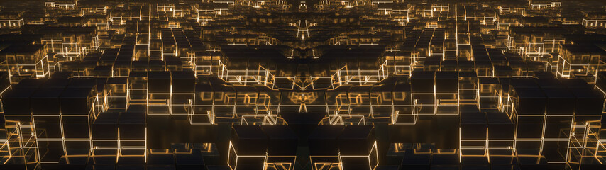 Lots of shining metal cubes with glowing grid lines.Abstract background with digital technology connection concept. Structure similar to night city with aerial perspective effect. 3d rendering