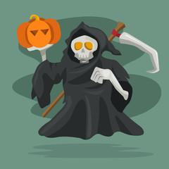 Cartoon character of grim reaper with pumpkin. Vector illustration, happy halloween.