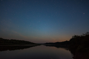 river Oka starry night
