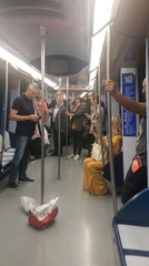 Smoke fills the train after a laptop explosion on Madrid Metro, near Principe De Vergara metro station in Madrid