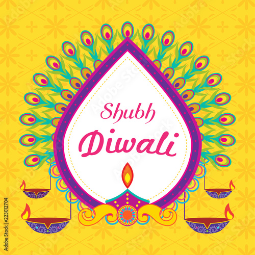 Quot Shubh Diwali Happy Diwali Greeting Card Vector