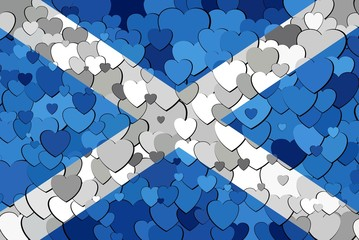 Scottish flag made of hearts background - Illustration, 