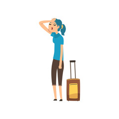 Girl tired of carrying a heavy suitcase, people traveling on vacation concept cartoon vector Illustration on a white background