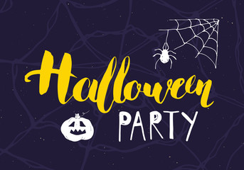 Halloween greeting card. Lettering calligraphy sign and hand drawn elements, party invitation or holiday banner design vector illustration