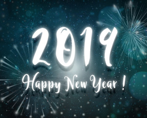 2019 happy new year neon light text blue night sky stars background with firework