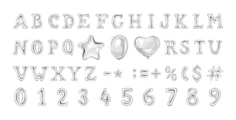 Set of grey number and letter balloons