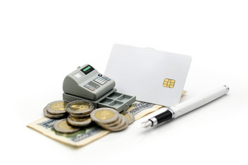 Credit Card ,Calculator with coin ,penl on money banknotes Euro and Dollars,business planning and finance and savings concept.