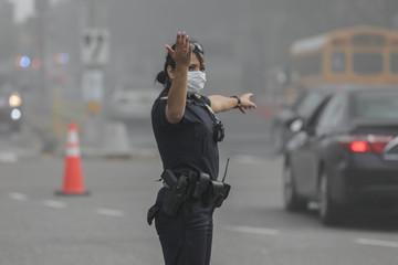 A policewoman directs traffic during a seven-alarm fire at Kings Plaza Shopping Center in New York