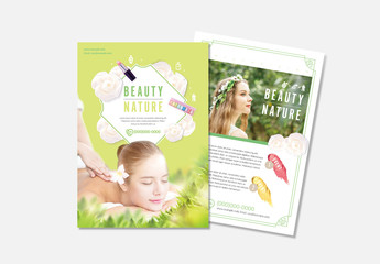Beauty Flyer Layout with Green Accents