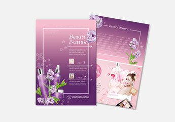Beauty Flyer Layout with Purple Accents