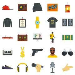 Hiphop rap swag music dance icons set. Flat illustration of 25 hiphop rap swag music dance vector icons for web